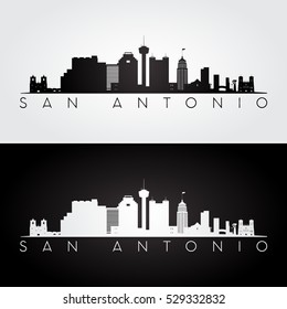 San Antonio USA skyline and landmarks silhouette, black and white design, vector illustration