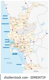 San Diego administrative and beach map