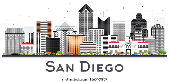 San Diego California City Skyline with Gray Buildings Isolated on White. Vector Illustration. Business Travel and Tourism Concept with Modern Architecture. San Diego Cityscape with Landmarks.