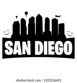 San Diego California. City Skyline. Silhouette Banner City. Design Vector. Famous Monuments.