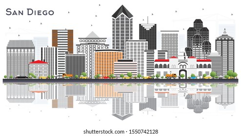 San Diego California City Skyline with Gray Buildings and Reflections Isolated on White. Vector Illustration. Business Travel and Tourism Concept with Modern Architecture. San Diego Cityscape.