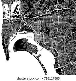 San Diego, California. Downtown vector map. City name on a separate layer. Art print template. Black and white.