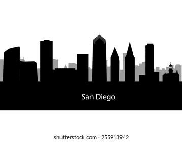 San Diego, California skyline. Detailed vector silhouette