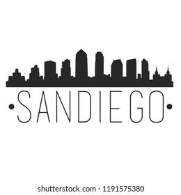 San Diego California Skyline Silhouette City Design Vector Famous Monuments