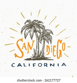 San Diego California T shirt graphic. Vintage apparel fashion tee design. Retro urban youth textured print. Hand drawn Palm trees vector illustration. Original Hand crafted Lettering art.