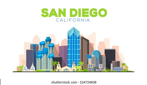 San Diego California (United States) city skyline vector background. Flat vector illustration.