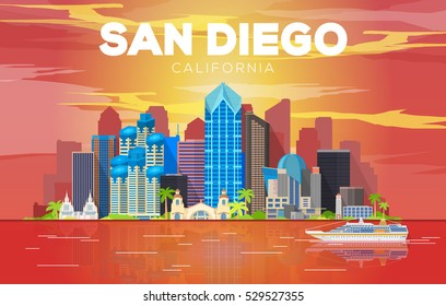 San Diego California (United States) city skyline vector background. Flat vector illustration. Travel picture. Image for Presentation Banner Placard and Web Site.