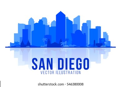 San Diego California (United States) silhouette city skyline vector background. Flat vector illustration.