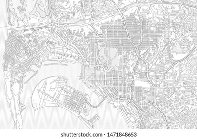San Diego, California, USA, bright outlined vector map with bigger and minor roads and steets created for infographic backgrounds.