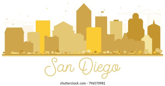 San Diego California USA City Skyline Golden Silhouette. Simple Flat Concept for Tourism Presentation, Banner or Web Site. San Diego Cityscape with landmarks. Vector Illustration.