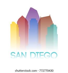 San Diego California USA Icon Silhouette Gradient Design City Vector Art