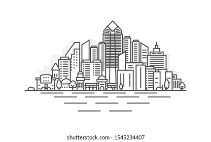 San Diego city, California architecture line skyline illustration. Linear vector cityscape with famous landmarks, city sights, design icons. Landscape with editable strokes.