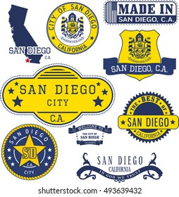 San Diego city, California. Set of generic stamps and signs.