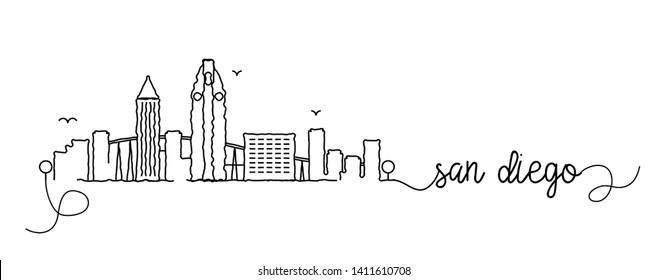 San Diego City Skyline Doodle Sign