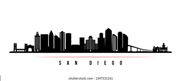 San Diego city skyline horizontal banner. Black and white silhouette of San Diego city, USA. Vector template for your design.