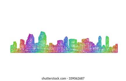 San Diego city skyline silhouette - multicolor line art