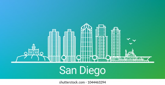 San Diego city white line on colorful background. All San Diego buildings - customizable objects with opacity mask, so you can simple change background. Line art.
