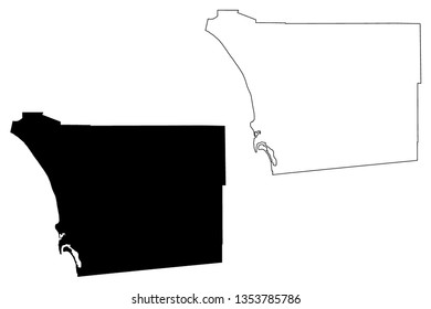 San Diego County, California (Counties in California, United States of America,USA, U.S., US) map vector illustration, scribble sketch San Diego map