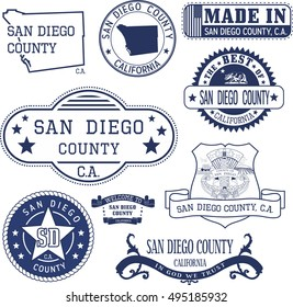 San Diego county, California. Set of generic stamps and signs including San Diego county map and seal elements.