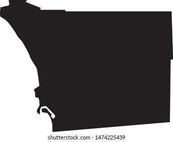 san Diego county map in the state of California