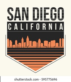 San Diego graphic, t-shirt design, tee print, typography, emblem. Vector illustration.
