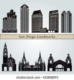 San Diego landmarks and monuments isolated on blue background in editable vector file
