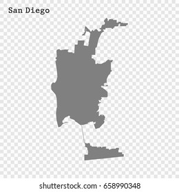San Diego Map. City of the United States. vector illustration