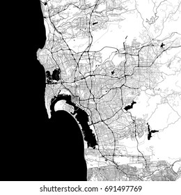 San Diego Monochrome Vector Map. Very large and detailed outline Version on White Background. Black Highways and Railroads, Streets and Water.