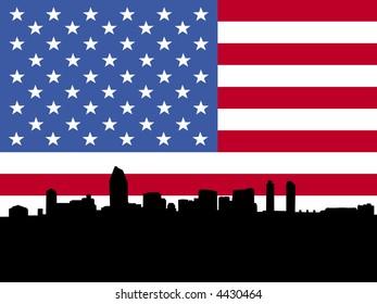 San Diego skyline with American flag illustration