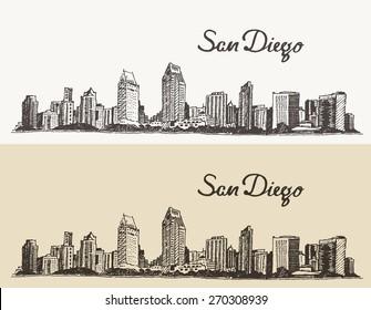 San Diego skyline, big city architecture, vintage engraved vector illustration, hand drawn, sketch.