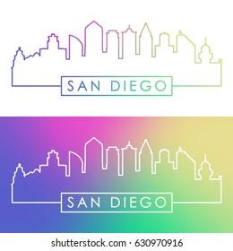 San Diego skyline. Colorful linear style. Editable vector file.