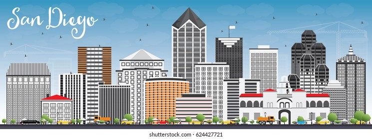 San Diego Skyline with Gray Buildings and Blue Sky. Vector Illustration. Business Travel and Tourism Concept with Modern Architecture. Image for Presentation Banner Placard and Web Site.