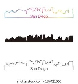 San Diego skyline linear style with rainbow in editable vector file