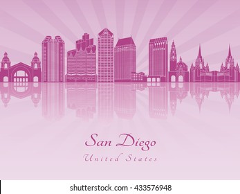 San Diego skyline in purple radiant orchid in editable vector file