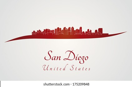 San Diego skyline in red and gray background in editable vector file