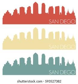 San Diego Skyline Silhouette City Famous Vector Vintage Color Set Design