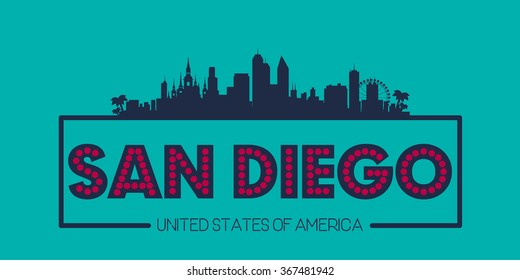 San Diego skyline silhouette poster vector design illustration