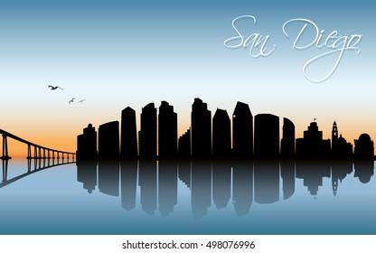 San Diego skyline - vector illustration