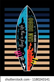 san diego surf is my life,t-shirt design