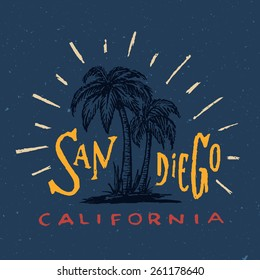 San Diego T shirt graphic. Vintage apparel fashion tee design. Retro urban youth textured print. Hand drawn Palm trees vector illustration. Original Hand crafted Lettering art. Navy background