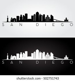 San Diego USA skyline and landmarks silhouette, black and white design, vector illustration.
