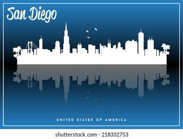 San Diego, USA skyline silhouette vector design on parliament blue background.