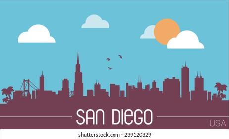 San Diego USA skyline silhouette flat design vector illustration.