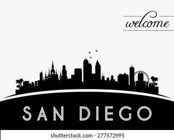 San Diego USA skyline silhouette, black and white design, vector illustration