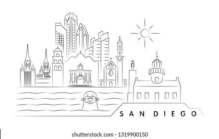 San Diego vector illustration and typography design