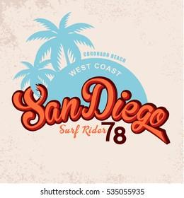 San Diego Vintage Graphic.Grunge effects.Vintage card design.Vintage print. t-shirt print.