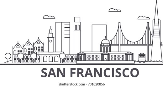 San Francisco architecture line skyline illustration. Linear vector cityscape with famous landmarks, city sights, design icons. Landscape wtih editable strokes