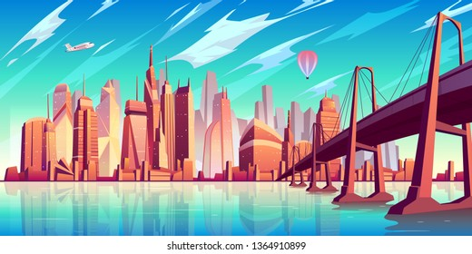 San Francisco bay landscape cartoon vector with suspension bridge over water, airliner and air balloon flying under futuristic skyscraper buildings illustration. Modern metropolis cityscape background