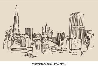 San Francisco, big city architecture, vintage engraved illustration, hand drawn, sketch