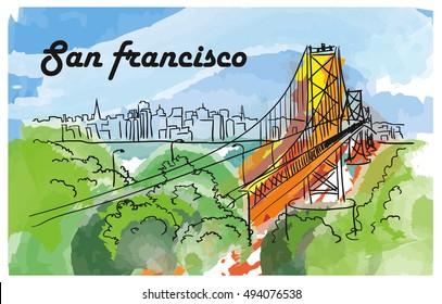 San Francisco bridge, hand drown illustration on watercolor background